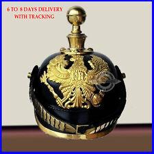 German Leather Prussian Pikelhaube Helmet Round Spike WW1 WW2 Kaiser Hat Larp