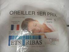 OREILLER BLANC 60 X 60 cm FABRICATION FRANCAISE 100% COTON