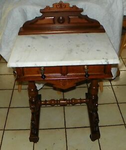 Walnut Carved Marble Top Writing Desk / Entry Table  (DR70)