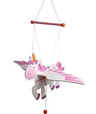 Children's Wooden Flying Pink & White Unicorn Baby Mobile Nursery Decor!