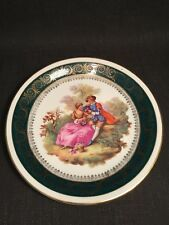 C P Limoges Fragonard Green & Gold Lovers Scene Cabinet Plate