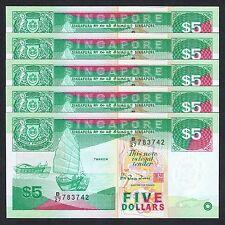 1997 SINGAPORE SHIP 5 DOLLARS P-35 UNC LOT 5 PCS