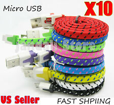 10x Flat cord Charger Braided Micro USB Cable For samsung Galaxy S7 S6 Android
