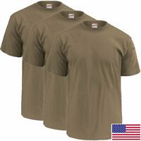 Soffe Military Tan T-Shirt, 100 Percent Cotton Poly 3-Pack