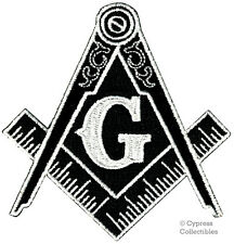 BLACK MASONIC PATCH EMBROIDERED IRON-ON LOGO Mason Freemason SQUARE COMPASS new