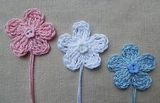x6 Crochet Flowers BABY Mix Appliqués Button Embellishments Blue, Pink & White