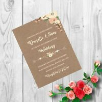 Personalised Handmade Wedding Invitations Invites Day Evening Vintage x 50 AWI27