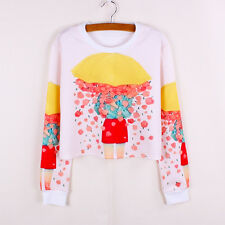 Autumn Girl Ladies Cropped Sweatshirt Top T-Shirt Harajuku Style Fashion