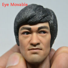 Game of Death Bruce Lee Head Sculpt Model 1/6 Fit 12'' Action Figure Eye Movable
