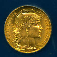 FRANCE 1907 CLASSIC ROOSTER GOLD COIN 20 FRANCS ANACS CERTIFIED MS 64 GORGEOUS