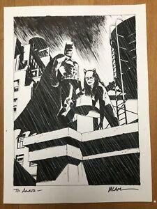 Michael Lark Batman Catwoman Commission Huge Original Art Cover Quality