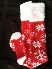 LADIES KNEE QUALITY COSY SNUGGLE SLIPPER SOCKS RED SNOWFLAKE VELVET SOFT FUR TOP