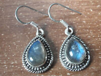 Labradorite Teardrop 925 Sterling Silver Dangle Earrings with Rope Style Accents