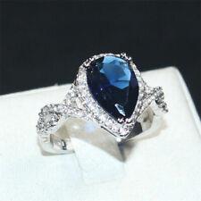 Gold Engagement Marvelous Ring 3.00Ct Blue Pear Cut Diamond 14K White