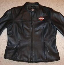 Harley Davidson Women's Large Black Leather Jacket 98112-06VW Cafe Racer, Pebble