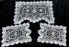 Antique Handmade Torchon-Cluny Lace Buffet or Vanity Table Doilies Set of Three
