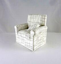 Dollhouse Miniature Artisan Upholstered Cross Hatch White Chair