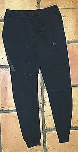 NIKE BLACK COTTON STRETCH SWEATPANTS ATHLETIC CUFFED PANTS WOMEN'S SIZE SMALL S