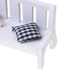 1x Garden Bench Dollhouse Miniature Furniture 1/12 Scale Wood w/ Cushions M8