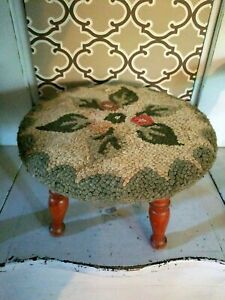 """Vintage Round Step Stool ~ Needlepoint Top ~ 9"""" tall ~ Antique"""