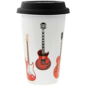 Guitar Themed Ceramic Travel Mug with Silicone Lid Double Wall Guitar Theme Gift