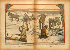 Poissons pêcheurs pêche fishing glace Groenland ice Greenland 1933 ILLUSTRATION
