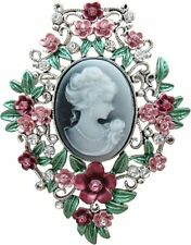 Multi-coloured Cameo Brooch with outer Flower Design Crystal & Enamel Cameo Pin