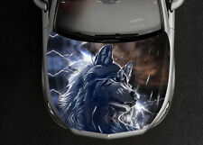 Wolf White Car Hood Wrap Full Color Vinyl Sticker Decal Fit Any Car