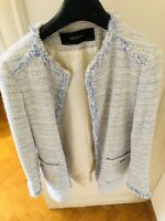 ZARA WOMAN NAVY BLUE TWEED FRAYED EMBELLISHED BLAZER COAT JACKET M Netaporter