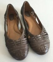 FOSSIL WOMEN'S TAUPE BROWN LEATHER FLATS SIZE 6