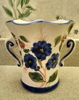 Vintage Portugal for FTD Hand Painted Planter Vase. Bright Blue Flowers