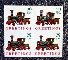 1992USA #2719  29c Locomotive Train Greetings - Block of 4  Mint christmas toy