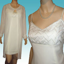 New 2-pc BEADED FORMAL SUIT Set 12 Off White CHIFFON CREPE by Nina Austin -Prom