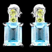 100% NATURAL 8X6MM SKY BLUE TOPAZ & APPLE PERIDOT STERLING SILVER 925 EARRING