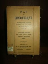 "1914 Folding Linen Back Map of Springfield VT 40"" X 29"""