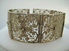 Vintage 800 Sterling Silver Filigree Panel Bracelet 27.8 Grams