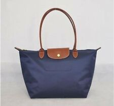 Bolsa de autenticación Longchamp le pliage Nylon Tote Bolso De Cuero Correa Azul Marino Grande