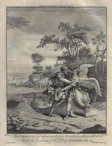 Stackhouse's New Bible - JACOB WRESTLES WITH ANGEL - Copper Engraving - 1752