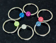"6 Pc Glow In The Dark Ball Captive Bead Ring 14g 1/2"" Diameter Surgical Steel"