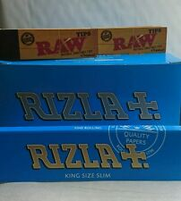 5 packs of rizla blue king size slim papers and 2 packs of raw tips.