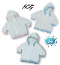 Cappottino neonato/a misto lana con cappuccio made in Italy tg. unica LA ROCCA