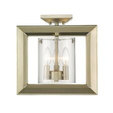 Golden Lighting Smyth Semi-Flush (Low Profile), Wh Gold/Clear - 2073-SF12WG-CLR