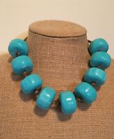 Chunky Beads Turquoise Blue Color Necklace