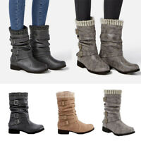 Winter Women Flat Mid Calf Boot Ladies Warm Elastic Slouch Ankle Round Toe Shoes