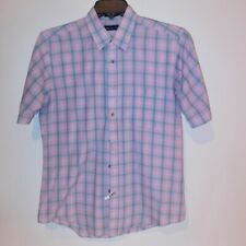 Wentworth Mens Button Down Shirt Medium Pink Gray Plaid Short Sleeve