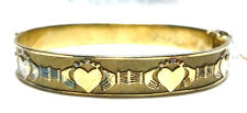 JPK DESIGNER STERLING SILVER GOLD FINISH IRISH CLADDAGH IRELAND BANGLE BRACELET