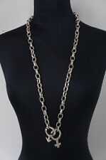 """NEW Uno De 50 Thick Silver Chain War of the Sexes 34"""" Long Statement Necklace"""