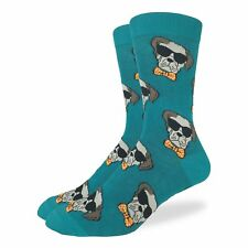 Good Luck Sock Dapper Dog Crew Socks Adult Shoe Size 7-12 Gentleman Hipster