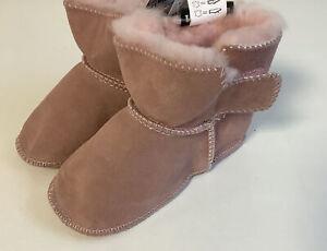 Baby Lammfellstiefel Stiefel Boots Lammfell Veloursleder Rosa  Gr. 22/23  B1++