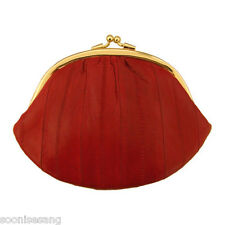 Genuine Eel Skin Cosmetic Case Wallet Pouch Makeup Case Round Pouch Purse (Red)
